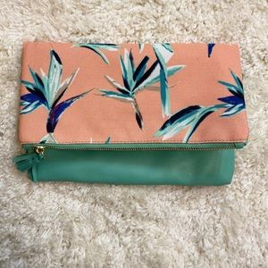 Floral and Leather Reversible Clutch